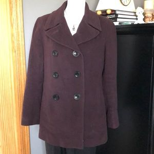 CALVIN KLEIN Burgundy Wool Blend Pea Coat Sz 8 EUC